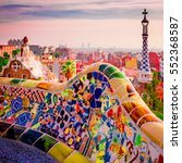 park guell colors in barcelona  ... | Shutterstock . vector #552368587