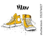 hand drawn sneakers on white... | Shutterstock .eps vector #552376027
