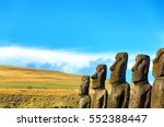 Row Of Moai On Easter Island ...