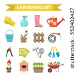 gardening icon set  flat style. ... | Shutterstock .eps vector #552402427