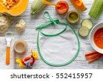 baby vegetable puree on wooden... | Shutterstock . vector #552415957