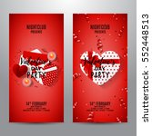 set of red party flyers for... | Shutterstock .eps vector #552448513