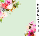 greeting card with watercolor... | Shutterstock . vector #552485227
