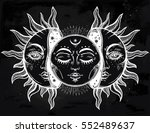 beautiful moon and sun with...   Shutterstock .eps vector #552489637