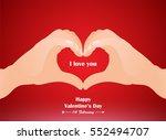 hand heart gesture  love finger ... | Shutterstock .eps vector #552494707