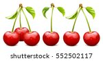 ripe red cherry with leaves.... | Shutterstock .eps vector #552502117