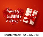 Color vector gift box, bows and ribbons . Hand drawn calligraphy lettering Happy Valentine's Day    | Shutterstock vector #552537343