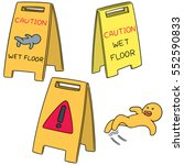 vector set of wet floor sign | Shutterstock .eps vector #552590833