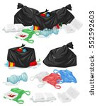 many piles of trash with... | Shutterstock .eps vector #552592603
