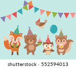 set of cute cartoon woodland... | Shutterstock .eps vector #552594013