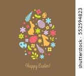 vector egg shape with easter... | Shutterstock .eps vector #552594823