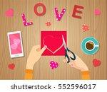 happy valentines day. female... | Shutterstock .eps vector #552596017