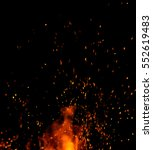 fire flames with sparks on a... | Shutterstock . vector #552619483