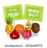 cute fruit cartoon characters... | Shutterstock .eps vector #552630073