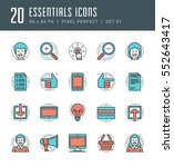 line icons set. flat thin... | Shutterstock .eps vector #552643417