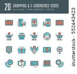 line icons set. flat thin... | Shutterstock .eps vector #552643423