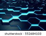 glowing blue hexagon pattern... | Shutterstock . vector #552684103