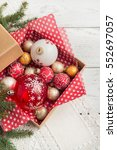 christmas decorations in box. | Shutterstock . vector #552697057