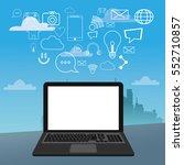 laptop social media icons city... | Shutterstock .eps vector #552710857