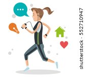 cute girl running with mp3... | Shutterstock .eps vector #552710947