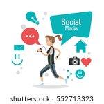 girl social media mobile phone... | Shutterstock .eps vector #552713323