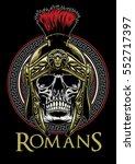 skull of roman warrior | Shutterstock .eps vector #552717397