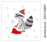 new year card. raccoon wraps... | Shutterstock .eps vector #552718807