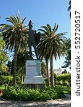 Small photo of CORFU, GREECE - AUGUST 04, 2005: Statue of ancient Greek warrior Achilles.