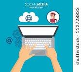 using laptop social media cloud ... | Shutterstock .eps vector #552728833