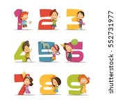 kids party retro icons set with ... | Shutterstock .eps vector #552731977