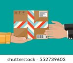 hands with postal cardboard box.... | Shutterstock .eps vector #552739603