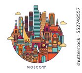 moscow detailed skyline. travel ... | Shutterstock .eps vector #552743557