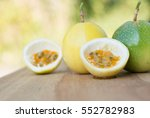 passion fruits on wooden...   Shutterstock . vector #552782983