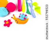 plasticine and tools on white...   Shutterstock . vector #552798523