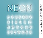 realistic neon alphabet shining ... | Shutterstock .eps vector #552798853