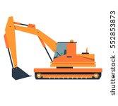 cartoon excavator with a bucket.... | Shutterstock .eps vector #552853873