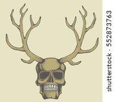 vector skull with deer horn... | Shutterstock .eps vector #552873763