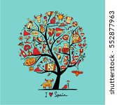 art tree with spain symbols for ... | Shutterstock .eps vector #552877963