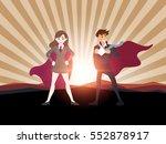man and women superhero with... | Shutterstock .eps vector #552878917