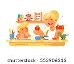 mom helps son do homework | Shutterstock .eps vector #552906313