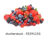 mixed berries white background - stock photo