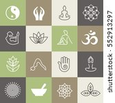 yoga symbols and poses for... | Shutterstock .eps vector #552913297
