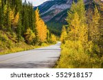 yellowed aspens near the road... | Shutterstock . vector #552918157
