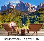 two deck chairs on a wooden...   Shutterstock . vector #552918187