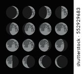 phases of the moon icons set.... | Shutterstock .eps vector #552929683