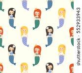 Cute Mermaids Girls Seamless...