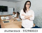 young businesswoman looking the ... | Shutterstock . vector #552980023