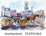 watercolor of carriage in... | Shutterstock . vector #552991363