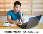 young man talking on phone and...   Shutterstock . vector #553009213