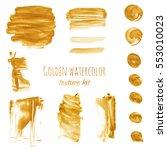 golden watercolor hand painting ... | Shutterstock . vector #553010023